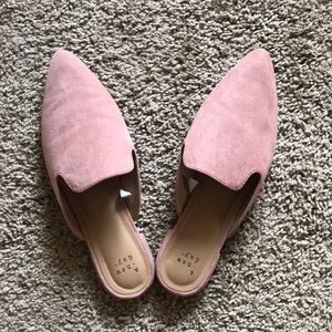 Blush Slip-On Suede Mules